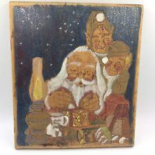 Vintage Santa elves plaque wooden carved handpainted handmade 1991