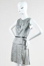Robert Rodriguez NWT $495 Gray Black Silk Printed Belted Peplum Dress SZ 8