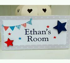 Shabby chic nautical bunting personalised boys name  bedroom sign plaque