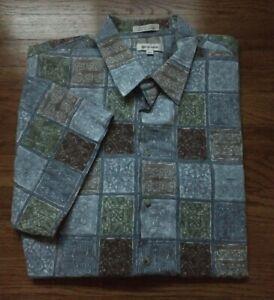 PIERRE CARDIN Hawaiian Shirt 2XLT Multicolor Tribal Short Sleeve Button Down Men