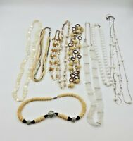 Fashion Jewelry Lot of 9 Womens Necklace Wearable Accessories Ivory White Clear