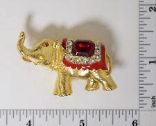 Vintage ELEPHANT GOLD TONE ENAMEL & RED RHINESTONE PIN COSTUME #067