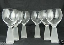VINTAGE BLOWN WINE GLASS RIBBED FROSTED STEM SET 6 STEMWARE RARE