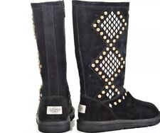 UGG AUSTRALIA Black Suede Two Tone Metal Studded Avondale Boots Sz 7