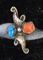 Old Pawn Navajo Sterling Silver Turquoise Coral Ring L Bickle Signed Size 6