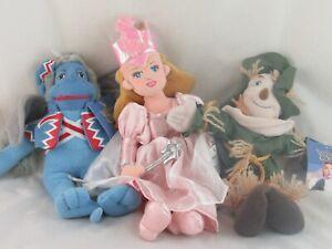 Wizard of Oz Plush Dolls Warner Bros Store, Lot of 3 Glinda, Scarecrow, Monkey