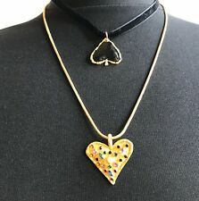 ZARA BEAUTIFUL DOUBLE GOLD BLACK HEART PENDANT NECKLACE – VALENTINE DAY