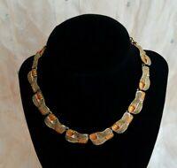 Vintage Necklace Gold Tone Orange Tiles 16 Inches