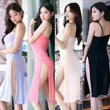 US Sexy Women's High Slit Lingerie Dress Sheer Cheongsam Halter Home Sleepwear