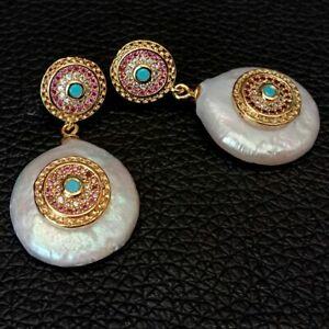 Freshwater White Coin Pearl Cz pave Stud Earrings