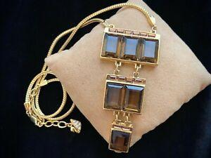 Vintage Swarovski Dark Topaz Crystal Tiered Drop Pendant Gold Tone Necklace