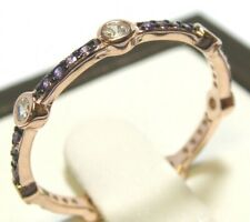 Eternity Band Stack Ring Size 8 925 Sterling Silver Simulated Diamond Amethyst