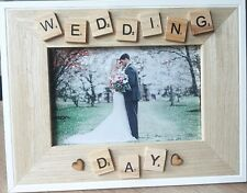 WEDDING DAY PHOTO FRAME - Wooden-Home Decor, Wedding Gift,Scrabble
