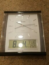 Tatco Quartz Wall Clock Analog, Digital, Day Stamp, Temperature, Month & Day