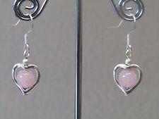 Rose Quartz Love Heart Dangle / Drop Sterling Silver Earrings. Very Nice!!