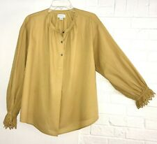 Velvet by Graham Spencer Poet Top Boho Blouse Mustard 100% Cotton Soft Women L