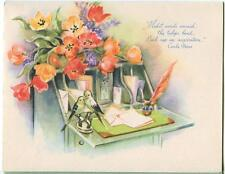 VINTAGE BIRD INKWELL FEATHER PEN TULIPS DESK FLOWER PRINT 1 ALPHABET FRIEND CARD