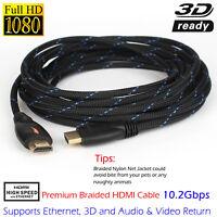 Nylon Braided 4K HDMI 25FT v1.4 Cable Ultra 3D HD HDTV | Premium High Speed Lead