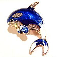 ADORABLE BLUE KILLER WHALE BROOCH crystal rhinestone enamel orca dolphin pin 2V