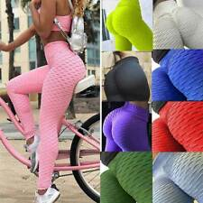 Womens Yoga Gym Anti-Cellulite Compression Leggings Push Up Ruched Sports Pants