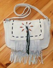 Leder Fransentasche beige weiß, Perlen + Concho, Indianer Western Cowboy Tasche