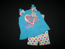 """NEW """"DADDY'S GIRL"""" Heart Shorts Girls Clothes 12m Spring Summer Baby Outfit Set"""