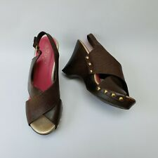 Lilly Pulitzer Shoes Sandals Brown Wooden Wedge Crisscross Callie Size 8.5 M