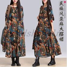 Vintage Womens Bohemia Floral Linen Loose Maxi Long Gown Robe Casual Dress Size
