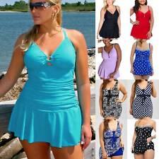 Plus Size Women Swimdress+Shorts Tankini Set Padded Swimwear Swimsuit Beachwear