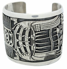 Ray Bennett Kagenvema, Bracelet, Crow Mother, Silver Overlay, Hopi Made, 6.5 in