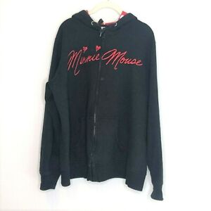 Disney Parks Minnie Mouse Hoodie Sweatshirt XXL Black Red Ears and Bow Spellout