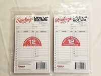 Rawlings Baseball Softball Line-Up Cards 2 Pack New 12 4-Part Forms Per Pack