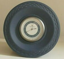 WEDGWOOD PORTLAND BLUE CLOCK ~ Round ~ New Battery ~ Boxed ~ Silent Sweep.