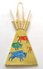 Native American Indian Handmade Clay Teepee Southwestern Décor Wall Decoration