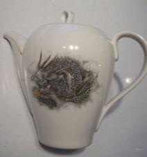 Arita China White Teapot Black Dragon Coffee Serving Pitcher Dish w Lid @ cLOSeT