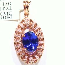 3.37CT 14K Gold Natural Tanzanite White Diamond Vintage AAA Engagement Necklace