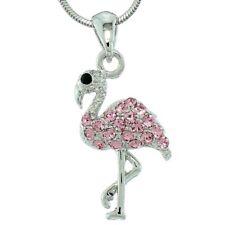 "W Swarovski Crystal Flamingo Elegant Bird Pink Charm Pendant Necklace 18"" Chain"