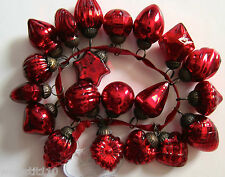 Vintage Mercury Glass Kugel Style Miniature Ornaments. Set of 20.   RED