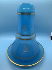 Light Blue Glass Brandy/Wine Dispenser With Cup And Underplate, Gold Rim