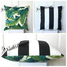 Tommy Bahama / Richloom 45cm Turquoise Green Palm /Black Stripes Cushion Cover