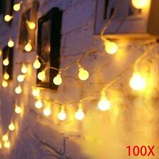 100 LED Globe Ball Outside Garden  String Fairy Warm White String Lights 33ft