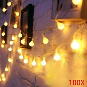 100LED 10M Globe Bulb Ball Fairy String Lights Mains Garden Outdoor Christmas