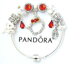 Authentic Pandora Bracelet HELLO KITTY Sterling Silver Red European Charms NIB