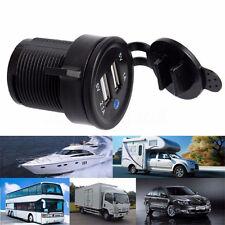 12V/24V Twin USB Car Cigarette Lighter Socket Dual Power Motorcycle Boat Plug UK