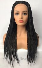26'' Long Braided Black Front Lace Wigs Womens Top Grade Synthetic Wig Wigs