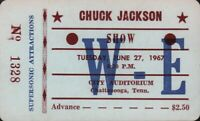 CHUCK JACKSON 1967 TOUR UNUSED CHATTANOOGA AUDITORIUM CONCERT TICKET / NM 2 MNT