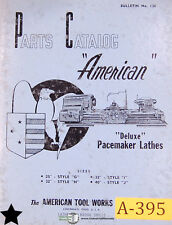 "American 25"" 32"" 40"" G H I and J, Deluxe Pacemaker Lathes, Parts Manual 1957"