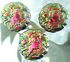 3 UNIQUE Glass Buttons #G869 - RAINBOW IRIDESCENT CAMEO - RARE - (40 mm) - WOW!!