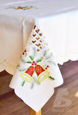 """Large Oblong Table Cloth Embroidered Christmas Bells 150x225cm(60""""x90"""")FFD003"""