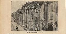 Stampa antica MILANO Colonne di San Lorenzo 1898 Old antique print